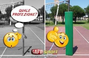 Palo di pallavolo / volley con protezione antitrauma avvolgente