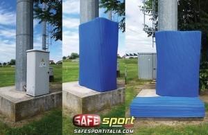 Prima e dopo l'installazione di una protezione sportiva avvolgente all'aperto