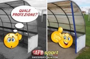 Protezione angolare per panchine calciatori e atleti